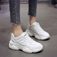 Купить с кэшбэком 2019 Spring/Autumn New White Shoes Women Clunky Sneakers Harajuku Casual Platform Dad Shoes White Sneakers
