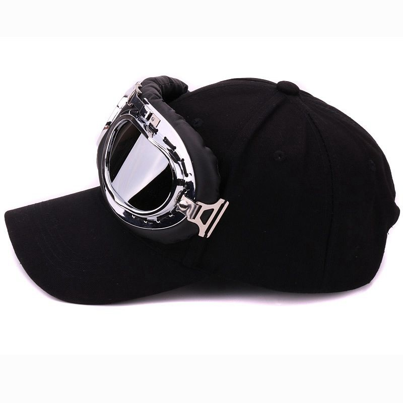 Topdudes.com - Adjustable Baseball Cap with Ski Goggles