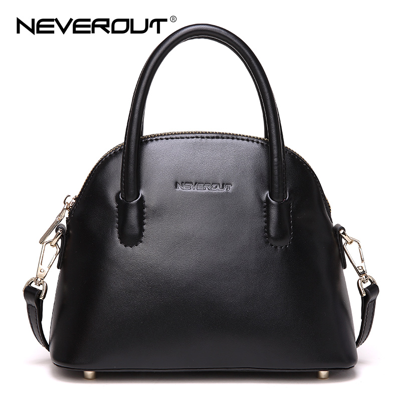 NeverOut 2 Color Women Handbags Solid Shell Classic Shoulder Sac Genuine Leather Crossbody Bags Lady Zipper Small Totes Bag women shoulder bags leather handbags shell crossbody bag brand design small single messenger bolsa tote sweet fashion style