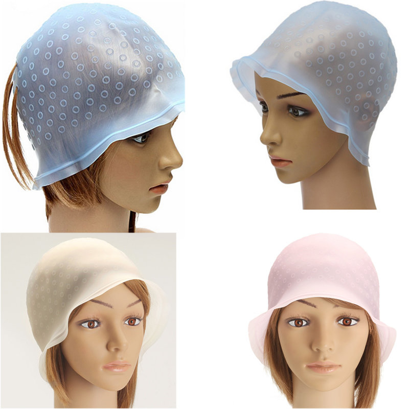 1Pc Reusable Silicone Salon Hair Coloring Hair Braider Highlighting Dye Cap With Frosting Color Styling With 1pc Metal Needle