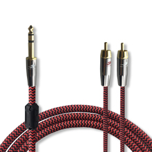 High Premium Stereo Male 6.35mm to 2 RCA Male Shield Cable Phono Mixing Console Subwoofer Amplifier Mixer Audio Cable