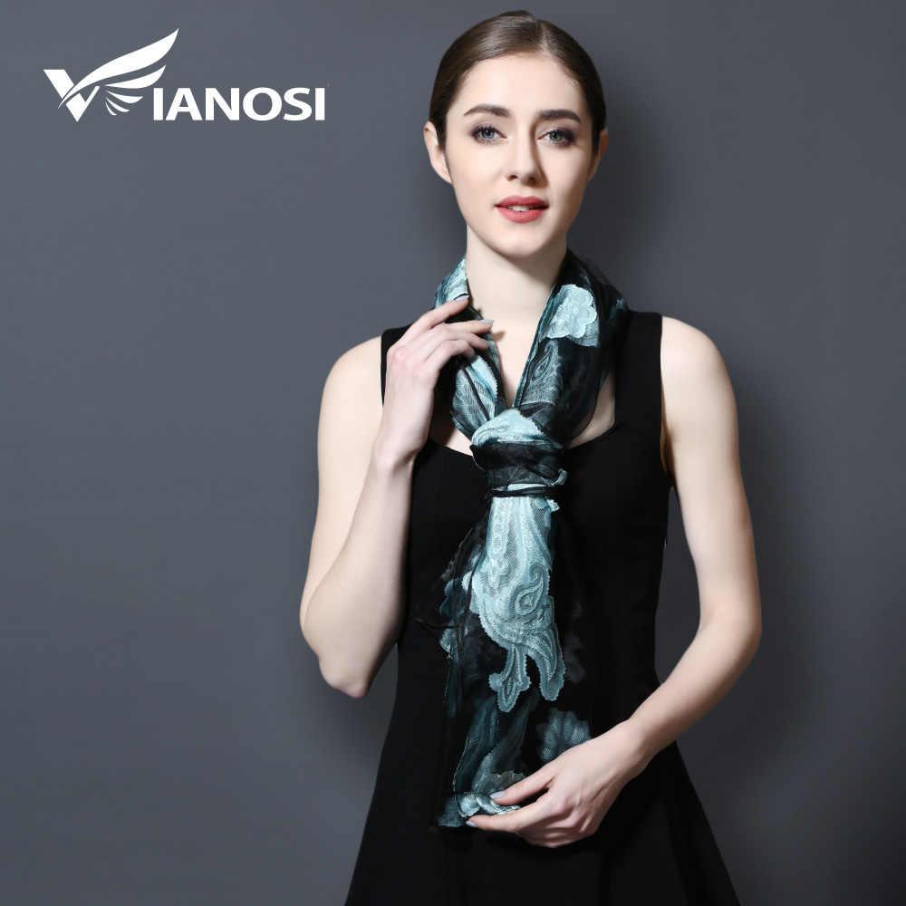 [VIANOSI] ブランドシルクスカーフ高級バンダナヒジャー刺繍スカーフ女性スカーフショールレース Sjaal ビーチカバーアップ VA112