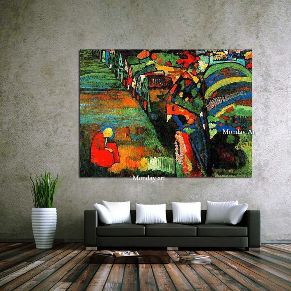 100% Hand Painted Canvas Painting Wassily Kandinsky Still life Abstract oil Painting Drawing art Unframed Canvas picture kitchen
