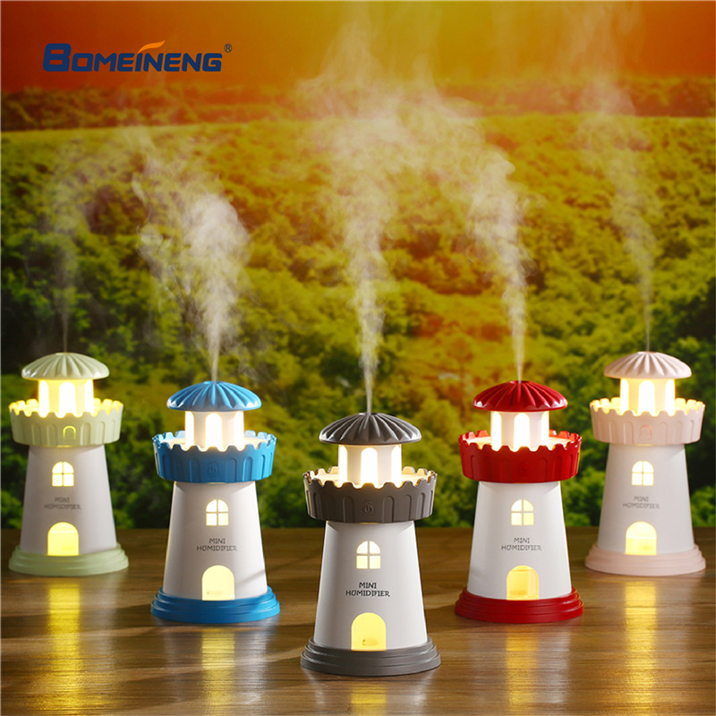 Lighthouse Car Air Humidifier Usb Essential Oil Diffuser Aroma Lamp LED Light Ultrasonic Humidifiers Mist Maker Fogger