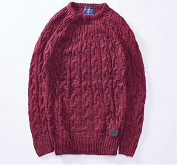 2019 Europe And The United States Pure Color Thick Thread Twisting Flowers Loose Men's Sweaters Warm Slim Pullover Clothes Tops