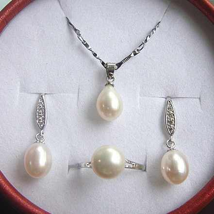 New Arrival Real Genuine Natural Freshwater Pearl Jewelry Set Graceful Gorgeous Nice Fashion Charm Jewelry Set