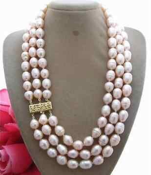 """3 行 9-10 ミリメートル自然オーストラリアの南洋ゴールドピンク真珠のネックレス 17 """"-19"""""""