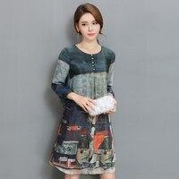 Plus Size 2018 New Spring Women Dress Print Slim Loose Fat Mm Long Silk Dresses 5810