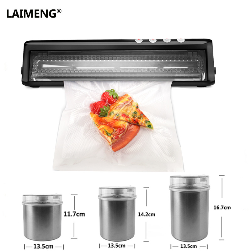 LAIMENG Vacuum Sealer With Fresh Storage Stainless Container for Dry Moist Foods Preservation With Vacuum Bags kitcox70427sfc023803 value kit naturehouse fresh nap moist towelettes sfc023803 and glad forceflex tall kitchen drawstring bags cox70427