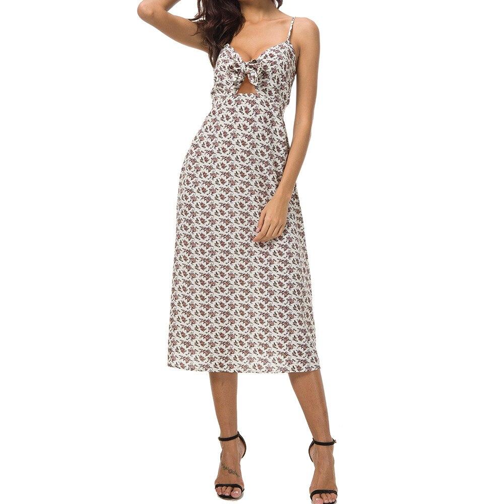 FREE OSTRICH Beach Dress Women Sundress Boho Camisole Floral Print Cut High Waist Bohemian Beach charming Beach Dress Summer