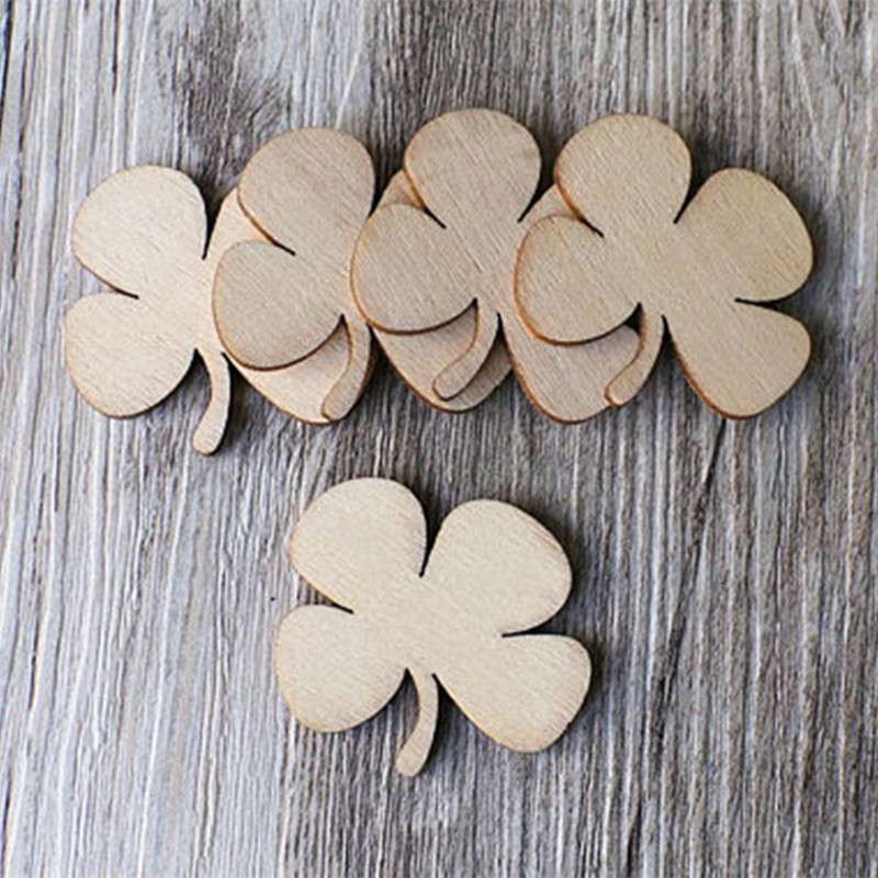 25pcs Unfinished Wooden Leaf Clover Plain Wood Embellishments For