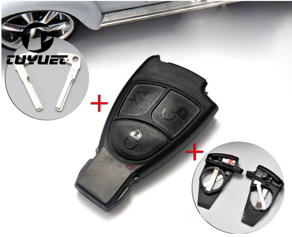Replacement 3 Buttons Smart Key Case FOB Shell With Battery Holder Clip For Mercedes Benz with logo+Key Blade цены