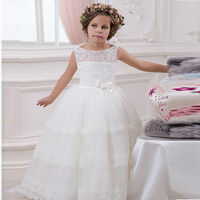 Elegant Flower Girls Dress Sash Lace Ball Gown Vintage Child O Neck Sleeveless Pageant Party Gown