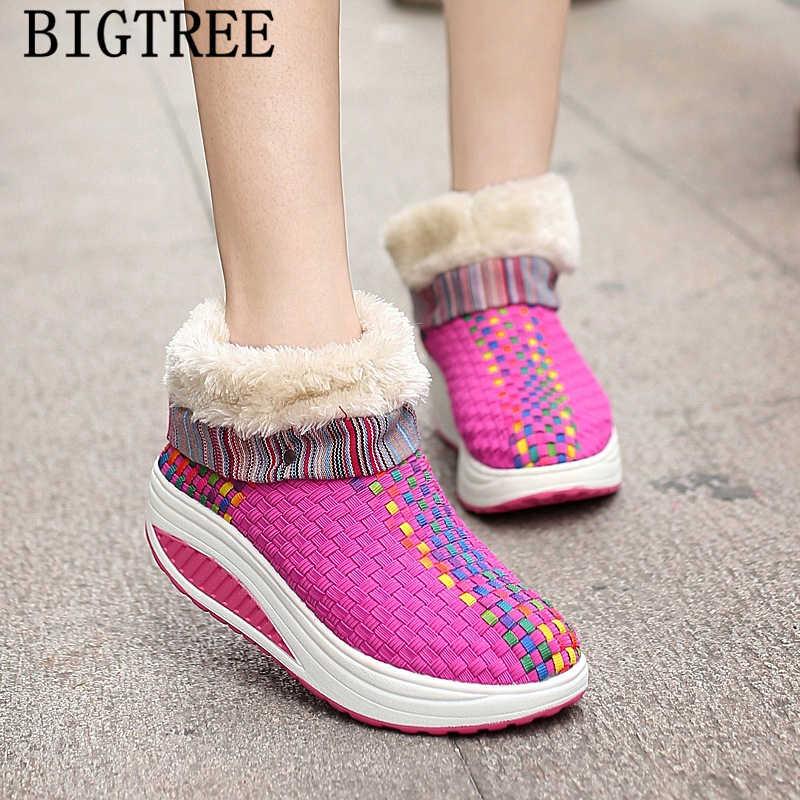 Platform vrouwen enkellaars winter laarzen vrouwen designer braid snowboots vrouwen winter schoenen merk botines mujer 2019 botki damski