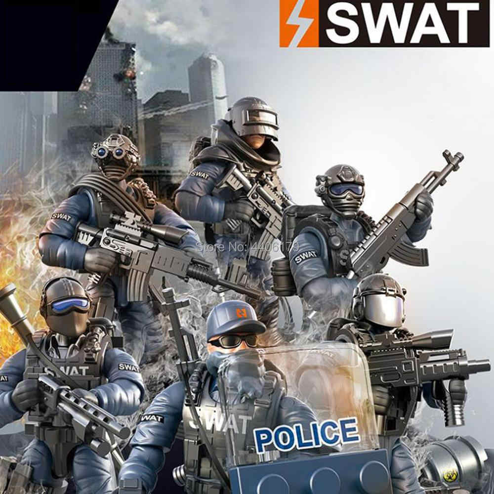 hot LegoINGlys SWAT city Super police Counter terrorism war Building Blocks army Giant figures weapons model bricks toys gift