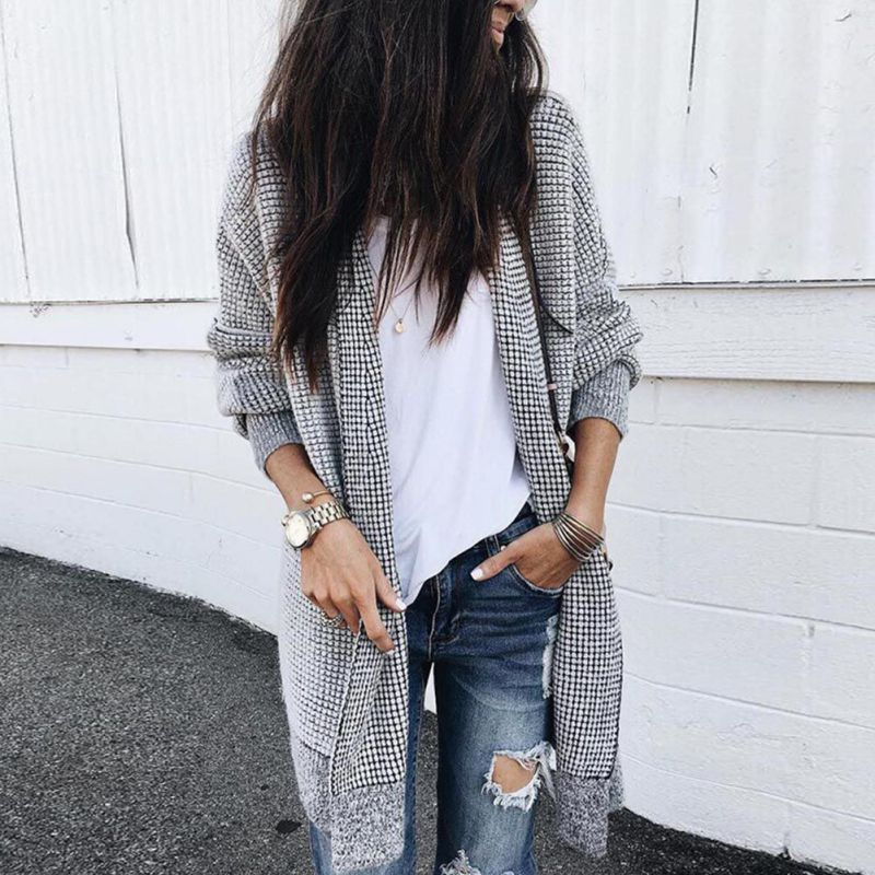 Women Cotton Cardigan Long Jackets Stand Collar Loose Open Stitch Outwear Casual Long Sleeve Autumn Winter Vintage Plaid Coats H in Jackets from Women 39 s Clothing