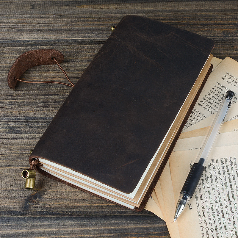 Climemo Brand Genuine Leather Notebook, Retro Cowhide Bullet Journal, Drawstring Planner Agenda Diary