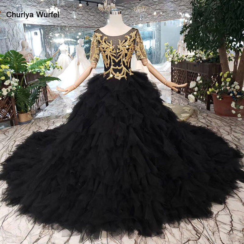 LS20339 Black Evening Dress Long For Women O-neck V-back Golden Lace Cake Style Formal Dress With Detachable Train 3.28 Discount