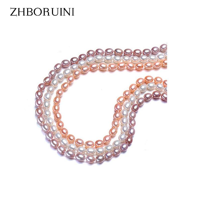 Zhboruini 2019 قلادة اللؤلؤ والمجوهرات لؤلؤ المياه العذبة الطبيعية الأرز 6-7 ملليمتر 925 فضة مجوهرات المختنق قلادة للنساء