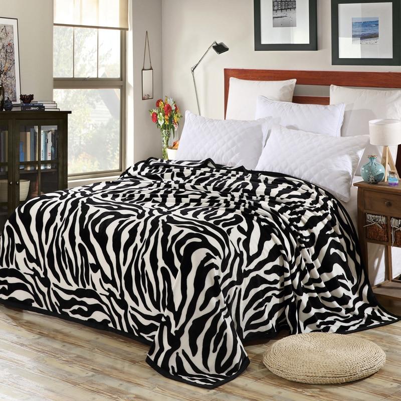 Супер удобное мягкое Норковое одеяло для валяния, Полосатое покрывало с рисунком зебры, цветочное одеяло, брошенное на диван/кровать/для пу...