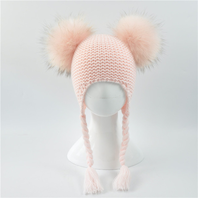 78cec461f US $14.55 |Kids Winter Double Real Fur Pompom Hat Baby Knitted Earflap Hat  Girls Boys Knitted Beanie Two Real Fur Pom Pom Hat Children-in Skullies &  ...