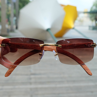 Vintage Rimless Sunglasses Wood Red Sunglass Men Luxury Eyewear Mens Carter Eyeglasses For Driving Traveling Accessories Shades
