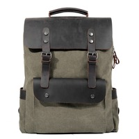 MUCHUAN 2018 new Europe and the United States outdoor canvas backpack leather men and women