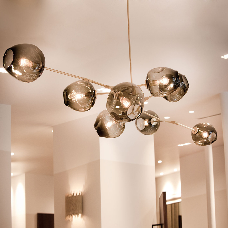 Cognac Clear Globe Glass Pendant Lamp Branching Bubble