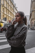 NiceMix 2019 winter turtleneck sweaters pearl beading sweater warm lantern sleeve women jumper femal loose gray pullover knitted plus pearl beading bell sleeve jumper