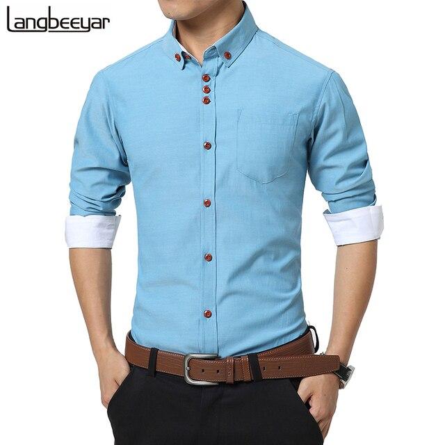 2017 Новая Мода Случайные Люди Рубашка С Длинным Рукавом Тенденция Slim Fit мужчины Сплошной Цвет Высокое Качество Мужские Рубашки Мужская Одежда 5XL
