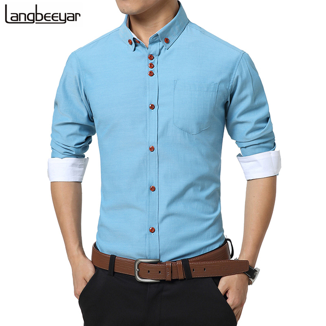 4e551157cb9289 2017 New Fashion Casual Men Shirt Long Sleeve Trend Slim Fit Men Solid  Color High Quality