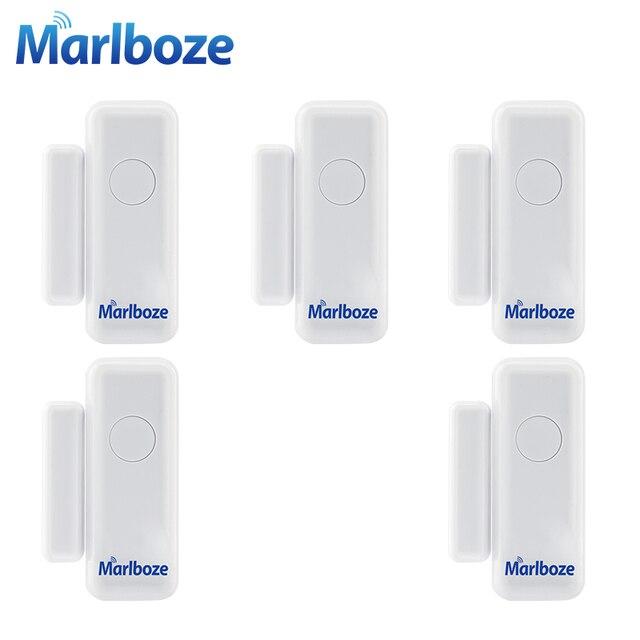 5ชิ้นMarlboze 433เมกะเฮิร์ตซ์ไร้สายหน้าต่างประตูการรักษาความปลอดภัยสมาร์ทช่องว่างเซ็นเซอร์สำหรับของเราPG103 Home Security WIFI GSM 3กรัมGPRSปลุกระบบ