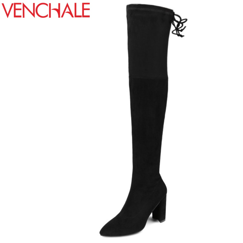 VENCHALE fashion high heel boots new come brand shoes woman over knee good quality winter long boots for ladies footwear