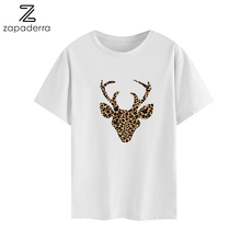 Clothes 2019 Tshirt Women Funny Cartoon Print Antlers PatternTops Streetwear Shorts White Cotton T shirt Femme Plus Size T-shirt