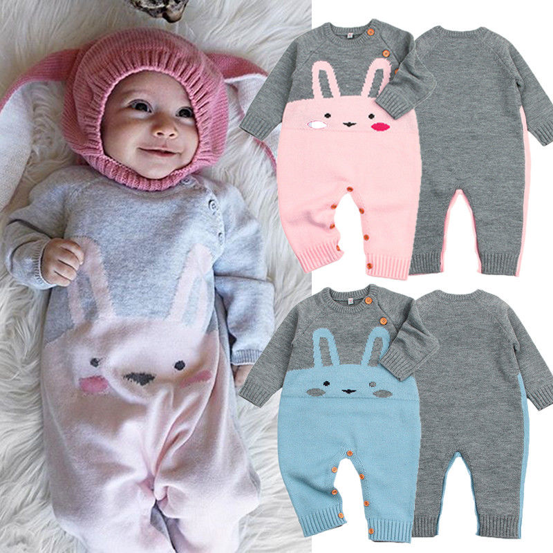 Cute Infant Newborn Baby Girls Boy Bunny Rabbit Knitting   Romper   Sweater Jumpsuit Playsuit Warm Outfits Winter Clothes