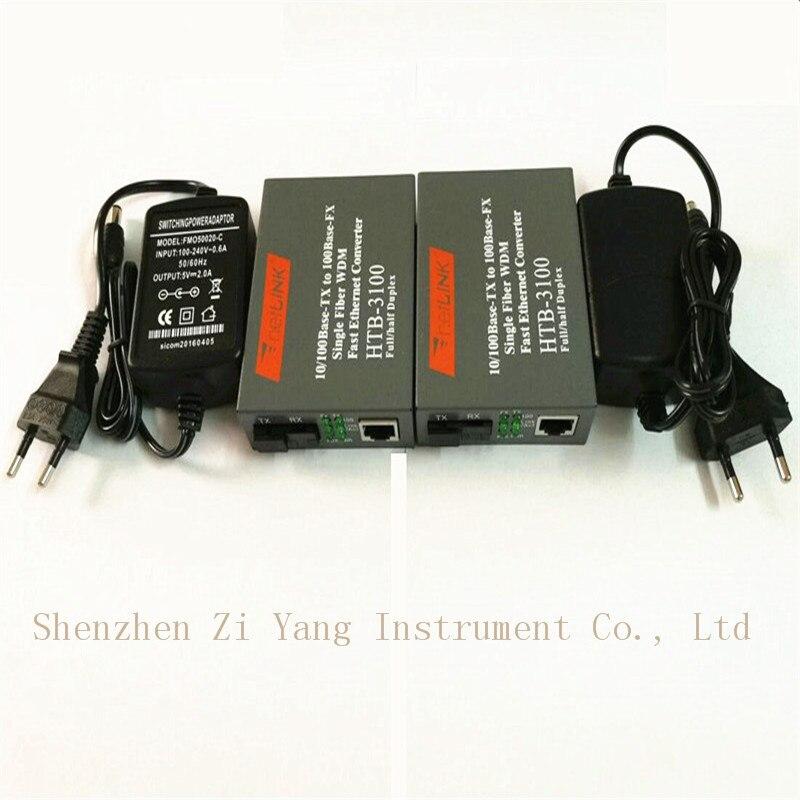4pair Htb-3100ab Optical Fiber Media Converter Fiber Transceiver Single Fiber Converter 25km SC 10/100M Singlemode Single Fiber