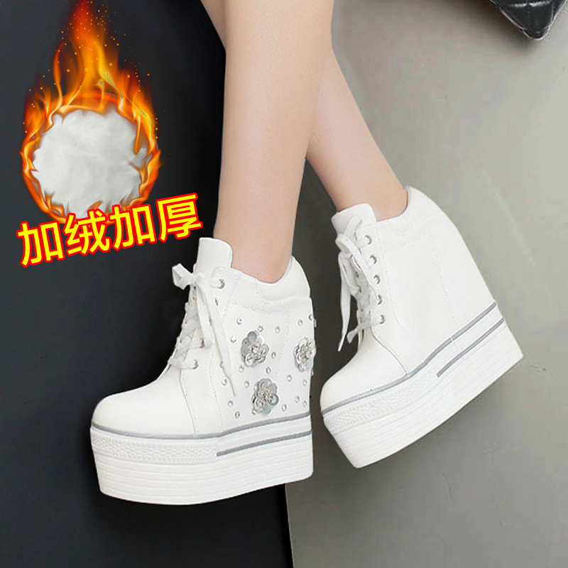 ФОТО 2016 Autumn And Winter Pattern Flange Within Increase Super High With Increase Down Paillette Manual Leisure Time Short Boots