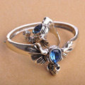 Vintage Elephant Jewelry Sets For Women Blue Long Nose Antique Silver Plated Bangle& Ring Set Punk Pulseiras Anillos Bijoux