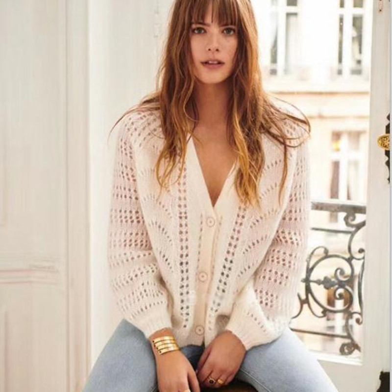 Women Mohair and Wool Hollow Out Long Sleeve V Neck Single Breated Loose Casual Sweater Cardigan Coats