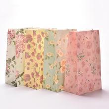 3PCS/lot Flower Print Kraft Paper Small Gift Bags