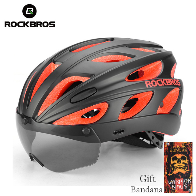 ROCKBROS Goggles Bicycle Helmets Integrally-molded Ultralight Magnetic MTB Mountain Road Cycling Bike Helmets With Sunglasses