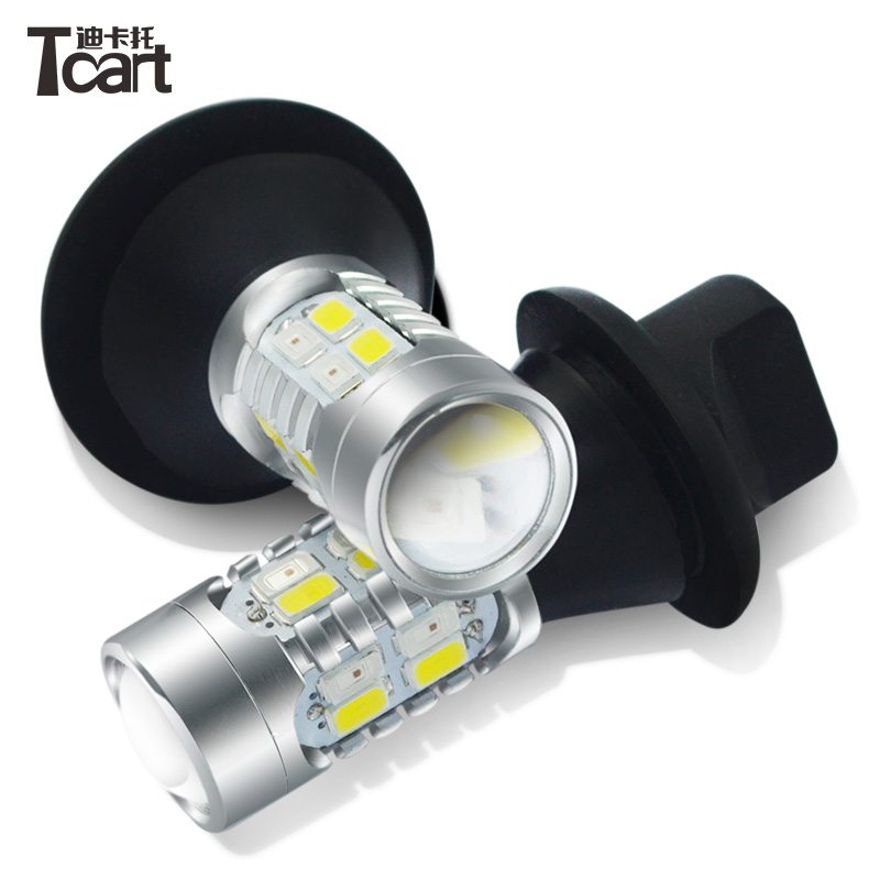 Tcart Super Bright DRL Daytime Running Lights Turn Signals All In One Auto LED Bulbs White+Amber Lamps T20 7443 WY21W For Toyota