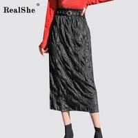 Realshe Fashion Casual Mid Calf Skirt For Woman High Waisted Elastic Pleated Korean Skirts Women Black Skirt Jupe Longue