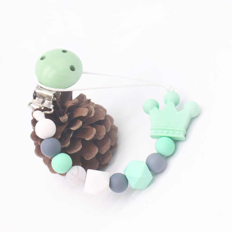 Silikon Manik-manik Kayu Bayi Dot Klip Rantai Teether Mengunyah Mainan Dummy Dot Puting Teethers Klip Pemegang Hadiah Baby Shower