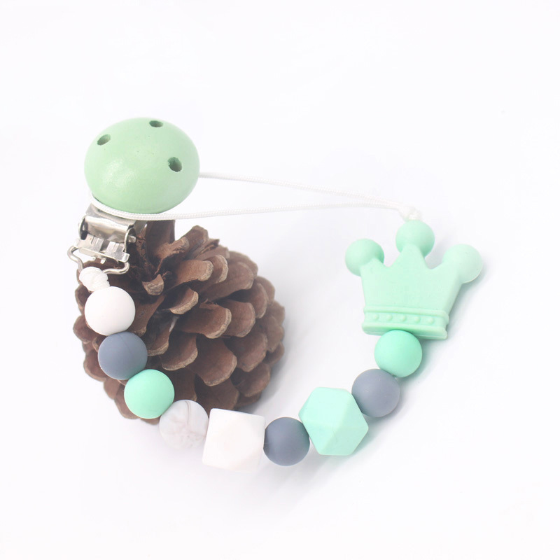 Silicone Beads Wood Baby Pacifier Chain Clip Teether Chew Toy Dummy Pacifier Nipple Teethers Clip Holder Baby Shower Gift