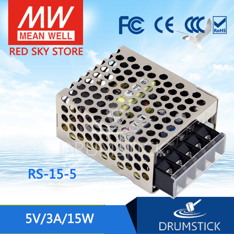 Competitive Products MEAN WELL original RS-15-5 5V 3A meanwell RS-15 5V 15W Single Output Switching Power Supply [Hot7] three output meanwell switching power supply new original rpt 75 c 3 years warranty