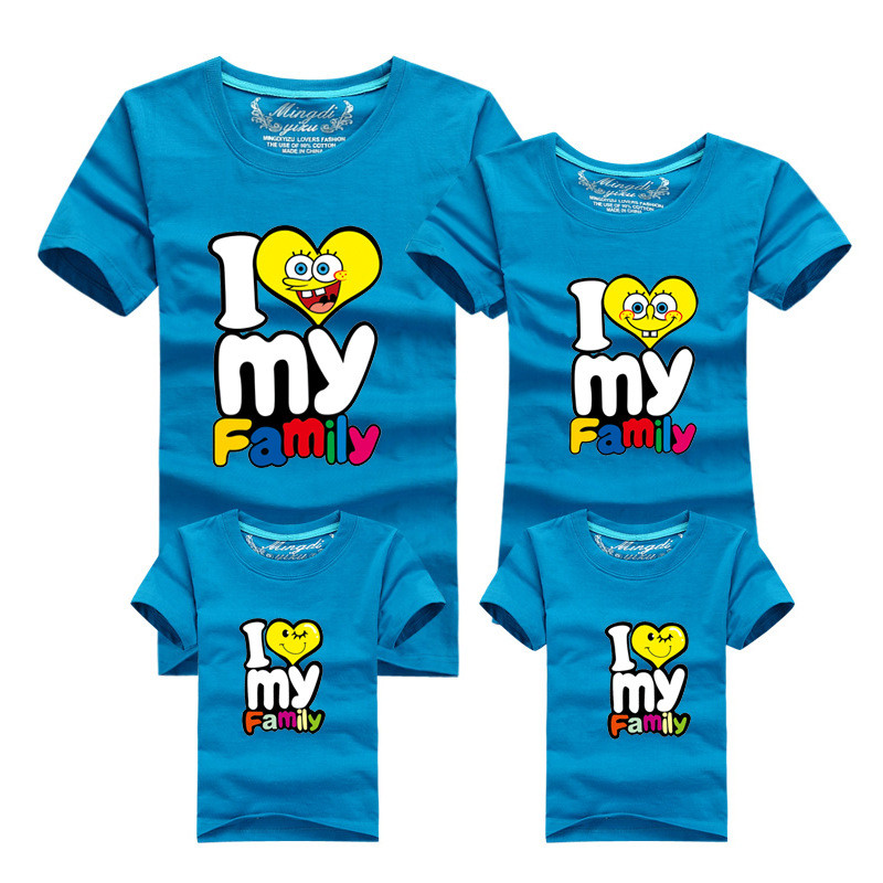 1Piece New Family Matching Outfits T-shirt Color Clothes For 2018 Summer family clothes mother father daughter son Top Clothing