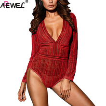 ADEWEL Women Deep V Neck Long Sleeve Bodysuit with Open Back Sexy Black Backless Long Sleeve Bodysuit Jumpsuits Clubwear black padded design deep v neck bodysuit swimwears