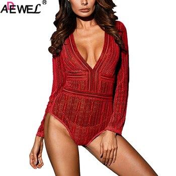 ADEWEL Women Deep V Neck Long Sleeve Bodysuit with Open Back Sexy Black Backless Jumpsuits Clubwear