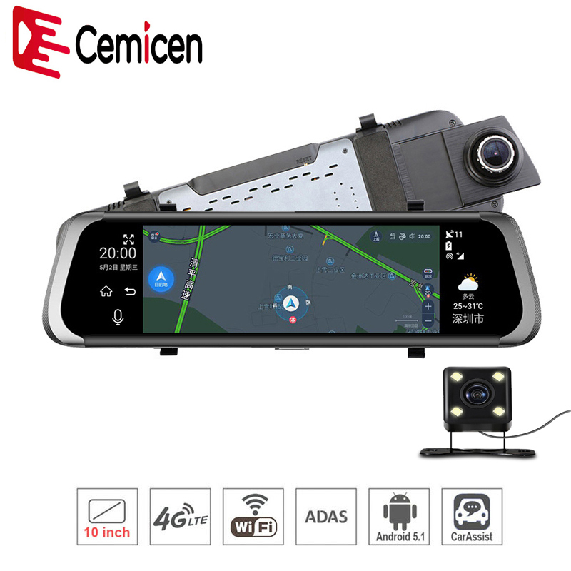 Cemicen Android 5 1 4G Wifi 10 Car DVR Dash Cam Rearview Mirror Dash Camera Dual